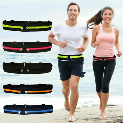 1/2 Pockets Running Belt Cell Phone Pouch Waist Bag Ladies Sports Fanny Pack New