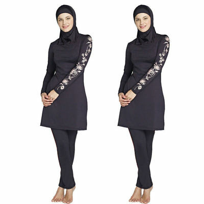 3 Piece Girls Womens Ladies Muslim Swimming Suit Trousers Top Head Burkini Head