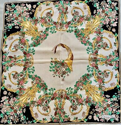 Lovely Christian Dior silk scarf with Floral motifs. Hand-rolled!
