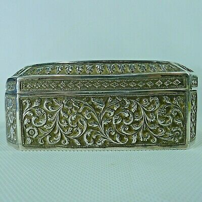 Old Solid Silver Hinged Lid Very Beautiful Highly Detailed Raised Decoration Box