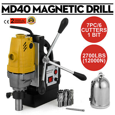 "Vevor MD40 240V 40mm 1100W Mag Drill Magnetic w/ 7 PC 1"" HSS Annular Cutter Kit"