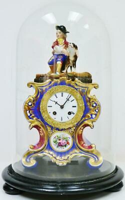 Antique French Empire 8 Day Hand Painted Porcelain Mantel Clock Under Glass Dome