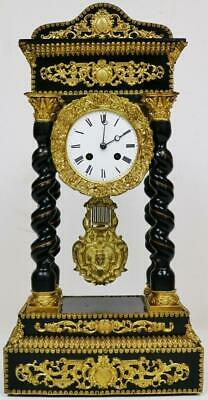 Rare Antique French 8 Day Elaborate Brass Mounted Ebonised Portico Mantel Clock