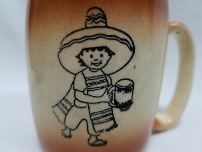 Smiling Mexican Child Wearing Sombrero On A Vintage Ceramic Souvenir Coffee Mug
