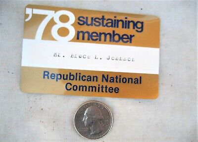 '78 sustaining member Republican national Committee card 1978