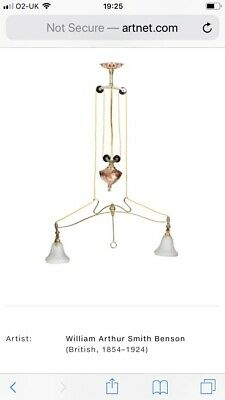 WAS Benson Pendant Ceiling Rise And Fall Light Fitting Brass Copper No1