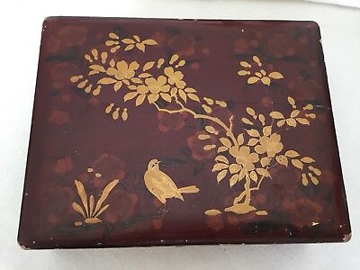 Antique Japanese Lacquerware Box Decorated with Foliage and Bird Gilt Paint