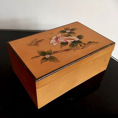 Vintage Chinese Bamboo Veneer Lacquer Hand Painted Butterfly Cherry Blossom Box