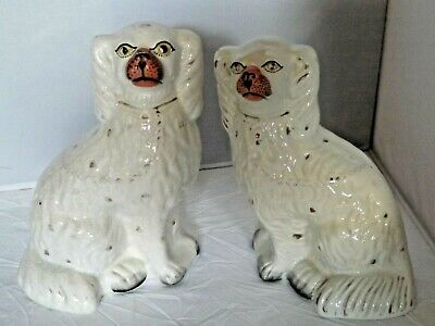 Antique Pair Staffordshire Pottery Wally Dugs / Mantle Dogs / Spaniels