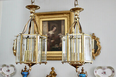 A Very Fine Pair of Bevelled Glass & Solid Brass Hall Lanterns in Georgian Taste