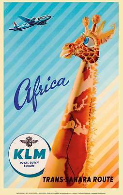 Affiche KLM Royal Dutch Airlines Africa Trans-Sahara Route Reproduction 50 X 70