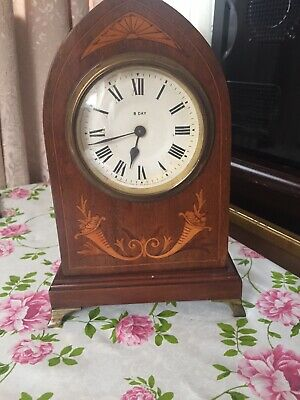 Antique inlaid Mahogany Edwardian Mantel Clock