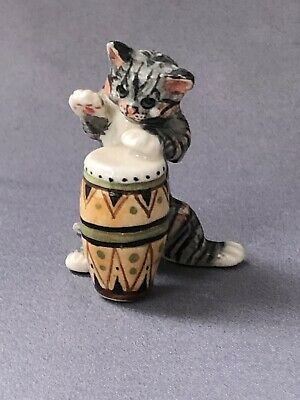 Tiny Hand Painted Pottery Cat With Musical Instrument Drum Bongo Novelty 1970s