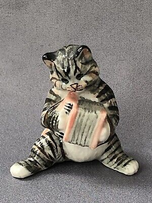 Tiny Hand Painted Pottery Cat With Instrument Accordion Squeeze Box 1970s