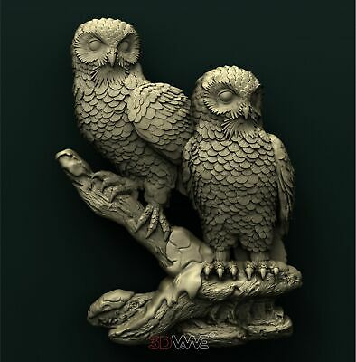 3d STL Model Relief for CNC Router _ Owls _0057