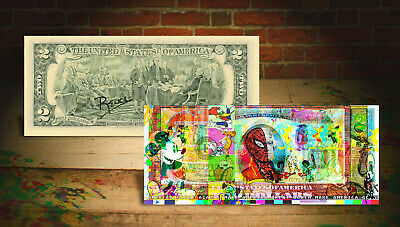 CARTOONS Spiderman Flintstones MAGA Genuine Tender $2 US Bill SIGNED by Rency