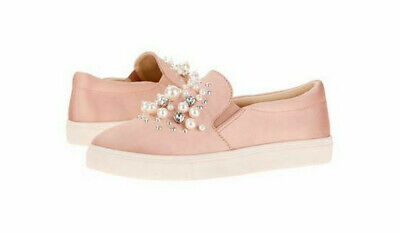 Big Buddha~Pink Slip On~Twin Gore Shoes~Rhinestones~Pearls~Studded Loafers~9