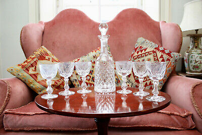 A Handsome Set of Six Victorian c19th Cut Wine Glasses