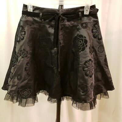 Limited too VTG 90s girls sz 14 black tone on tone circle skirt velvet embossed