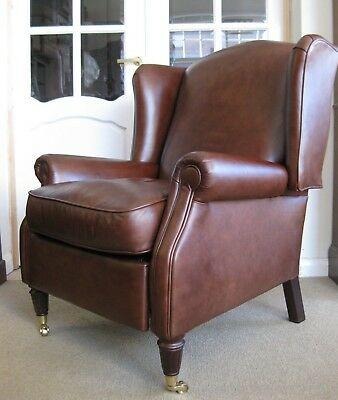 Chesterfield Style Laura Ashley Southwold Reclining Armchair in Brown Leather