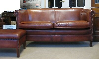 Chesterfield Style Bendic International Rowley Tan Leather Two Seater &Footstool