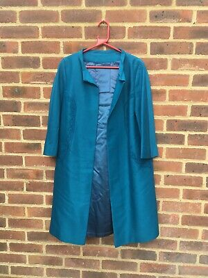 Vintage Original Peggy French Couture 1960's Teal Blue Duster Coat M Events