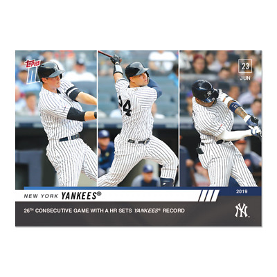 2019 Topps NOW 427 LeMahieu Sanchez Torres Yankees 26th Consecutive Game With HR