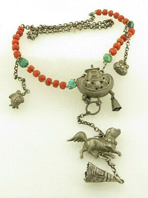 """Antique Tibetan Chinese Silver & Natural Coral 18"""" Necklace."""