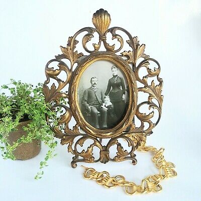 "Lovely Ornate GOLD Gilt Cast Iron Metal Easel back Oval Frame 11"", 5.5"" photo"