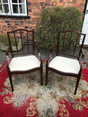 Pair Of Edwardian Georgian Style Mahogany Inlaid Serpentine Open Armchairs