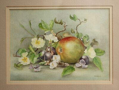 F WHITFORD, Exceptional Pair of Still Life Fruit Watercolours, Signed