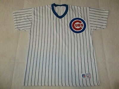 Vintage 80'S 90'S Chicago Cubs Pinstripe Russell Cotton Pullover Jersey Mens Xl