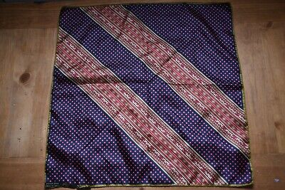 Vintage Ashear Hand Rolled Pocket Square 100% Silk Made in Italy Red Gold Navy
