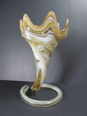 "VINTAGE MURANO HAND BLOWN COIL PEDESTAL STRETCH ART GLASS VASE 12""TALL x 7""WIDE"