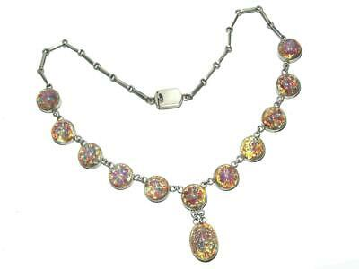 Vintage Mexico Sterling Pink Confetti Fire Opal Art Glass Bib Collar Necklace