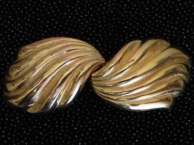 Huge Signed Dotty Smith 1980 Vintage Old Stock Gold Plated Swirl Belt Buckle