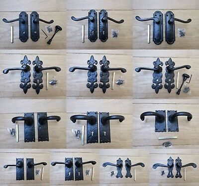 Cast iron Black antique lever mortise door handles old rustic vintage style