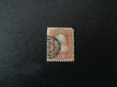 1861 U.S.A. rose pink postage stamp no grill perf 12 no w/mark