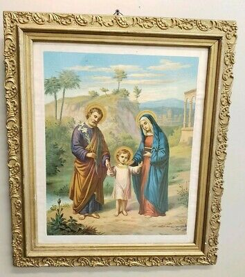 "Ornate Antique Vintage Gold Gilt Picture Frame Jesus Print 20.5""× 17.5"""