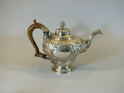 Antique George III English Sterling Silver Georgian Teapot ca.1810 London Marks