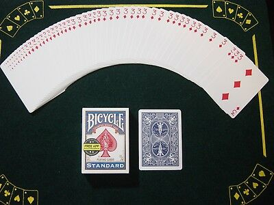 One Way Force Deck - Blue Bicycle -3 Of Diamonds - 52 Cards All The Same  New