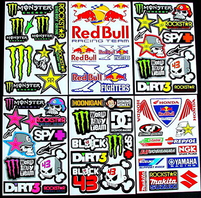 6 Sheets scooter motocross cut Stickers tt mx DIRT Energy Rockstar BMX Bike kKi