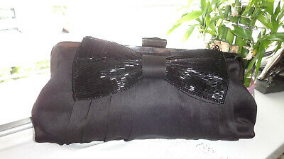 BHS Small Black Satin Clutch/Evening Bag With Beaded Bow