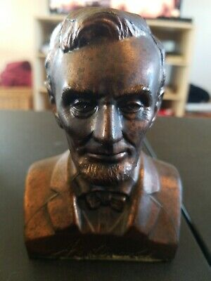 Vintage Coin Saving Bank Abraham Lincoln President Bust Figure Copper