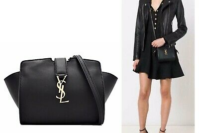 $1,290 - SAINT LAURENT YSL Toy 'Cabas' Monogram Black Leather Crossbody Bag, EUC