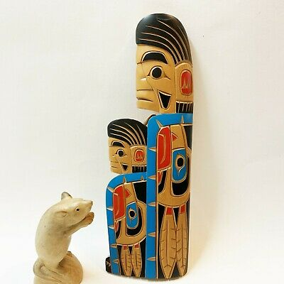 Canadian Indian Carved Wood Totem Wall Hanging - 33cm  Chief Eagles, dated 2000