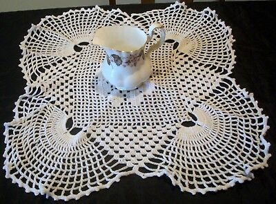 Lovely Table Centre Doily White Original Hand Crochet