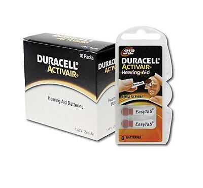 Duracell Activair Hearing Aid Batteries Size 312 (80 cells) 3 year shelf life