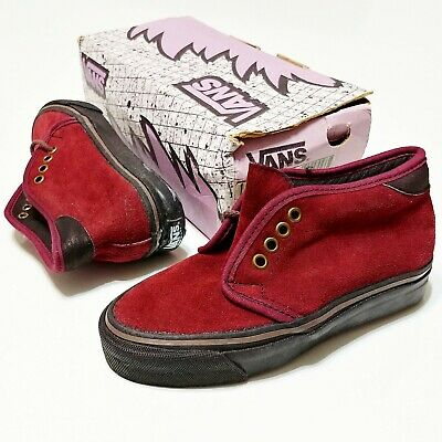 Vans Made In USA Chukka Boot Suede Vintage 1990s DeadStock New Boys 2.5 Burgundy