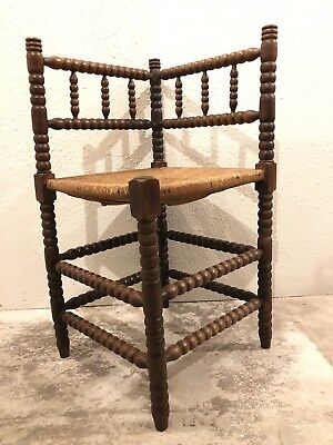 Antique French Bobbin Turned Arts And Crafts Rush Seat Victorian Corner Chair